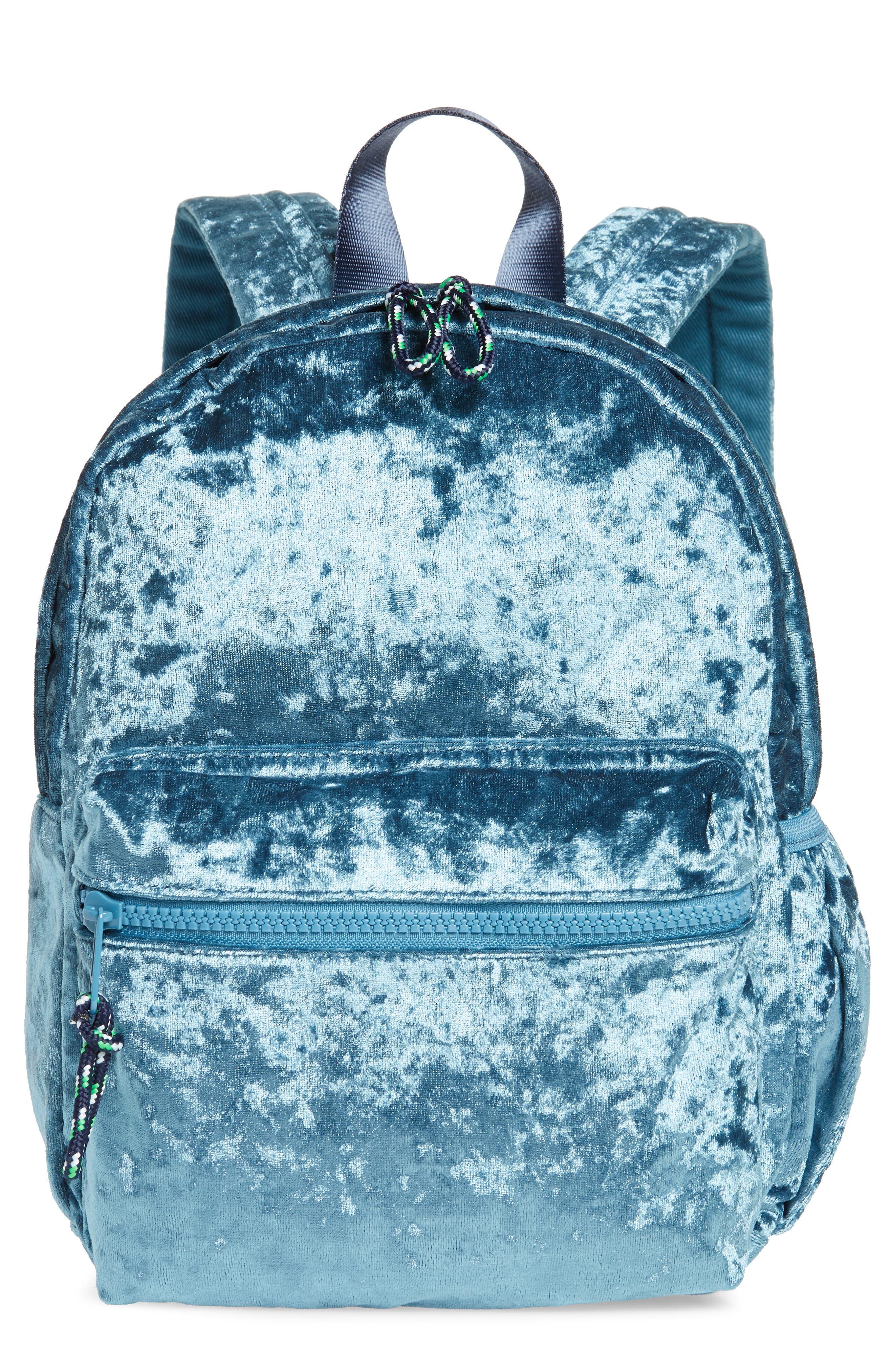Crushed Velvet Backpack,                             Main thumbnail 1, color,                             Brilliant Turquoise