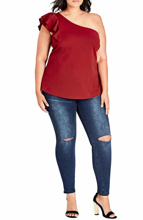 2f7536a331cd8a City Chic Sweet Flutter One-Shoulder Top (Plus Size)