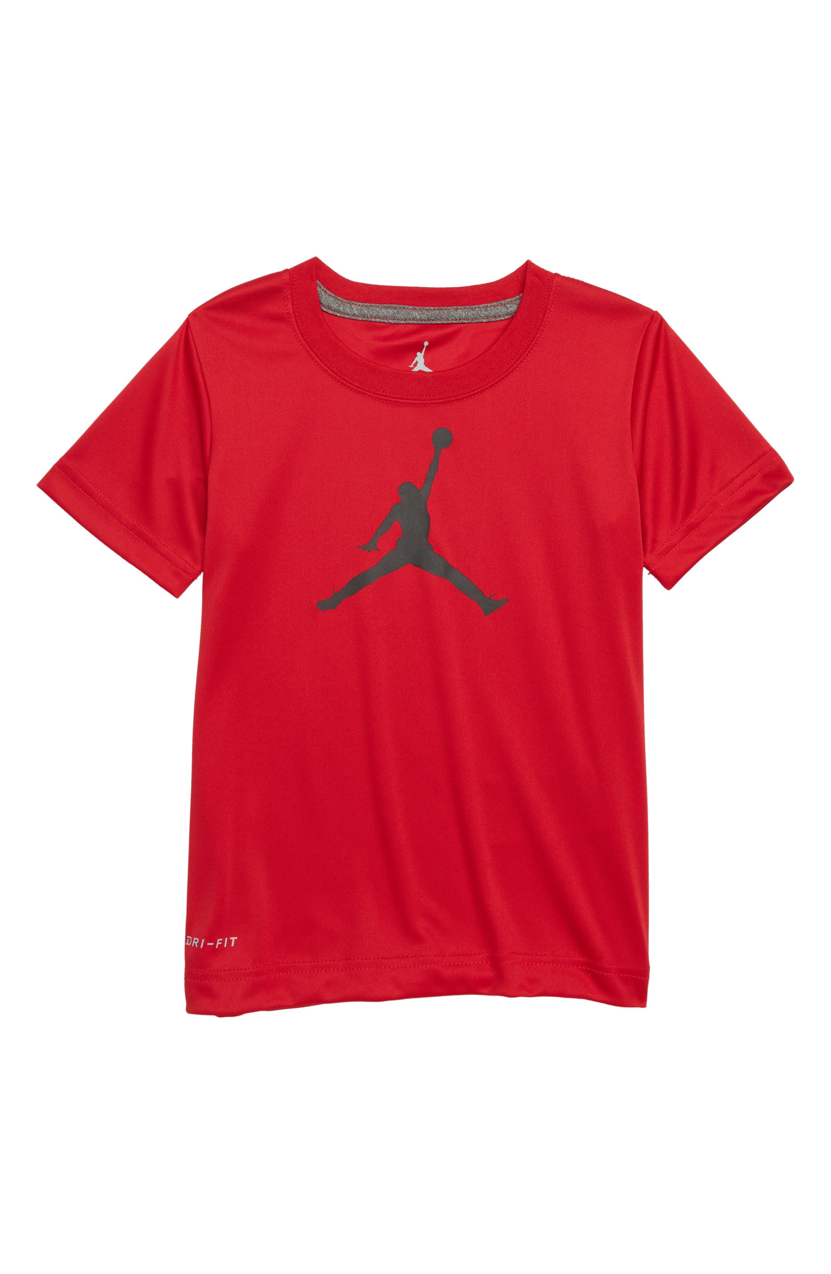 Jordan Jumpman Logo Dry T-Shirt,                             Main thumbnail 1, color,                             Gym Red