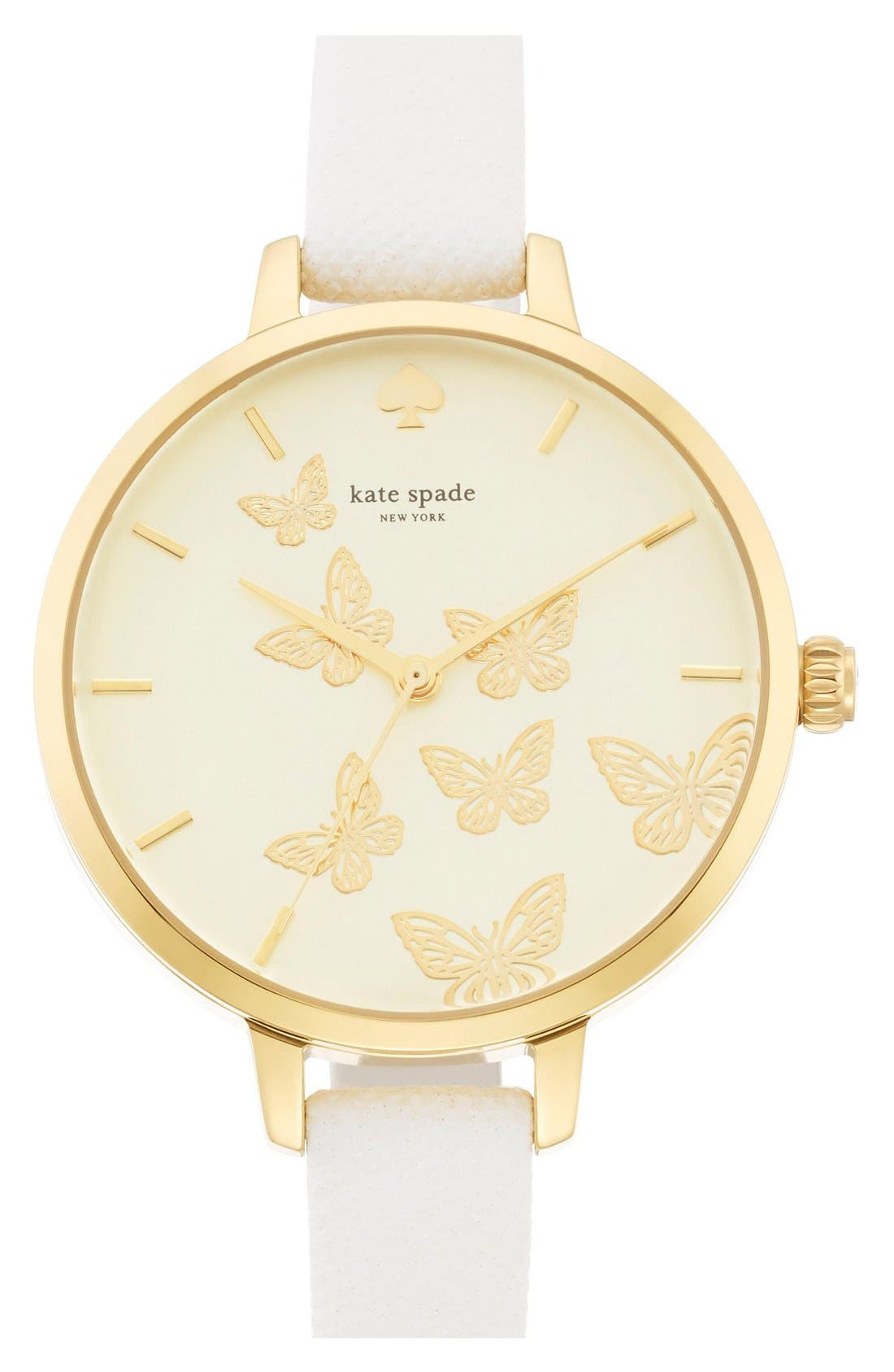 Main Image - kate spade new york 'metro' butterfly dial leather strap watch, 34mm