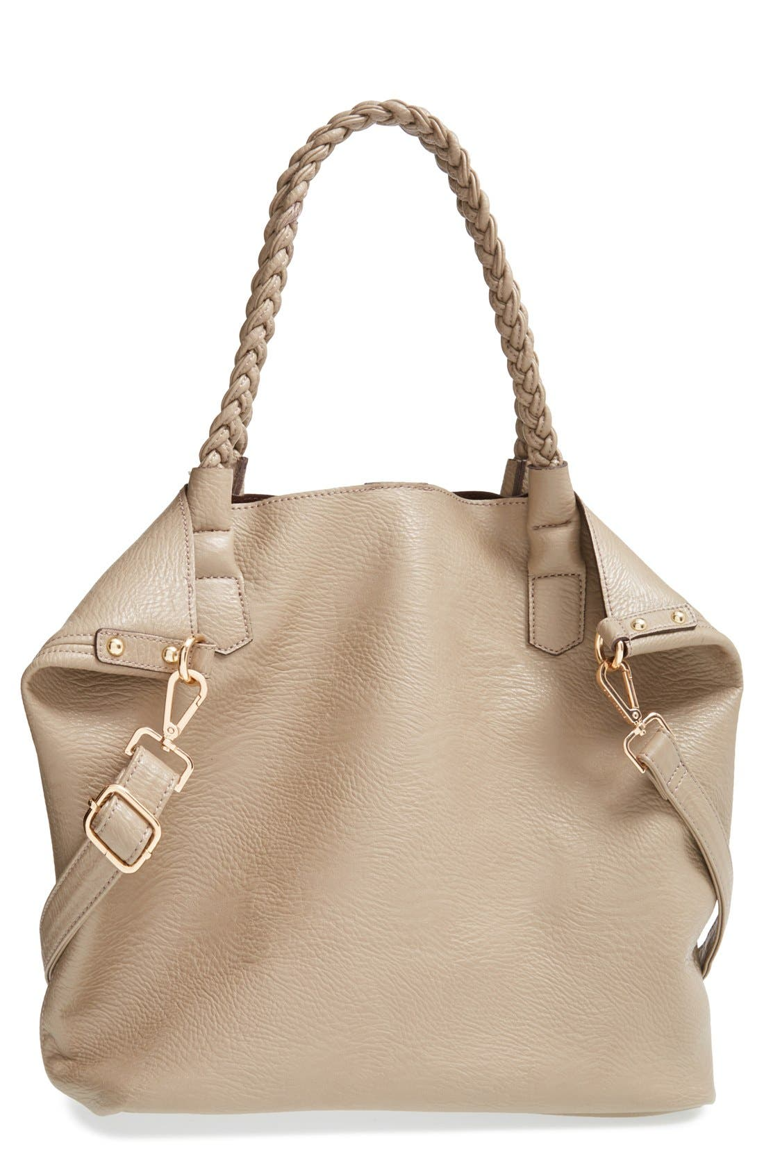 Main Image - Street Level Slouchy Faux Leather Tote with Pouch