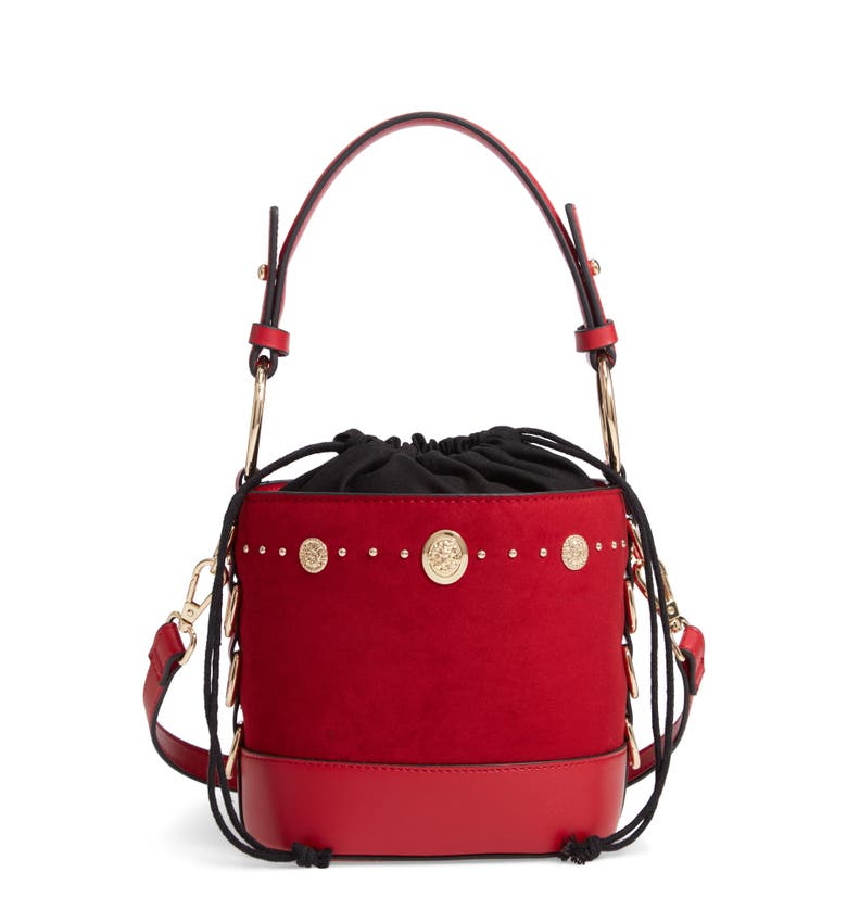 Bianca Studded Faux Leather Bucket Bag, Main, color, Red Multi