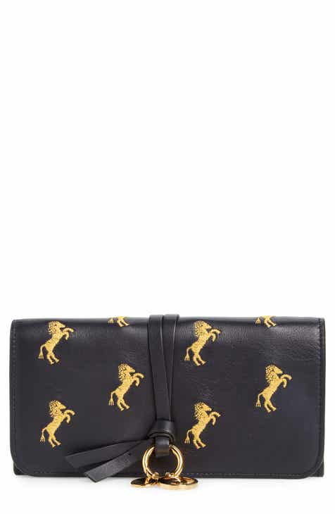 10c94bda379a Chloé Alphabet Horse Embroidered Leather Continental Wallet