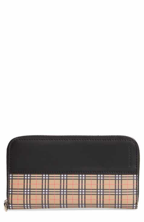 190a9d8b8e21 Burberry Mini Vintage Canvas Check   Leather Zip Around Wallet