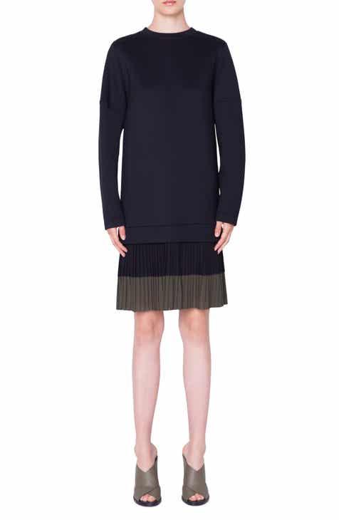 Akris punto Pleated Hem Sweatshirt Dress