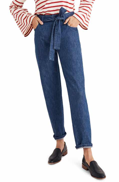 Madewell Tie Waist Tapered Denim Pants by MADEWELL