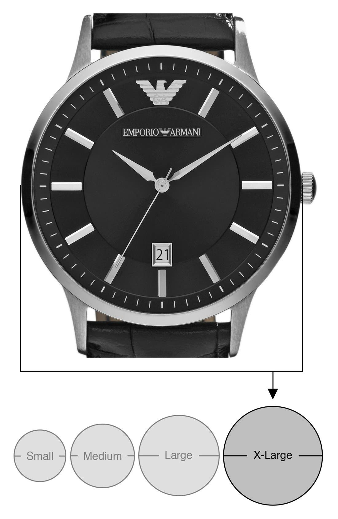 Alternate Image 4  - Emporio Armani Slim Leather Strap Watch, 43mm
