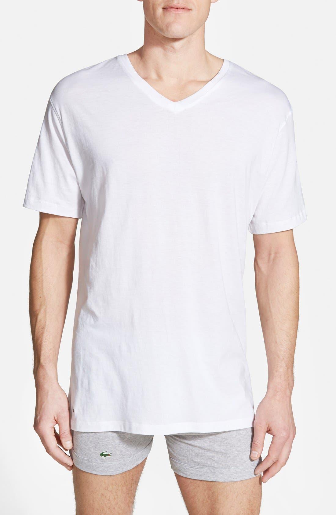 Supima<sup>®</sup> Cotton V-Neck T-Shirt,                         Main,                         color, White