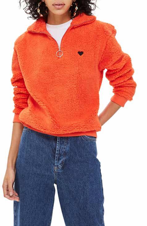 Topshop Borg Heart Quarter Zip Pullover (Regular   Petite) 85dc336920