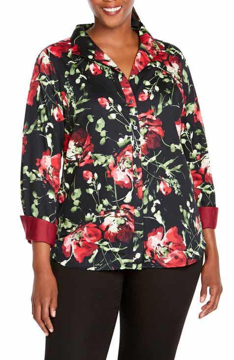 d5892962995 Foxcroft Rhonda in Dreamy Floral Shirt (Plus Size)