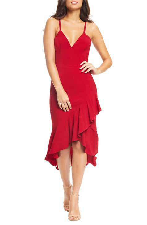 627f26c737 Dress the Population Wendy High Low Ruffle Cocktail Dress