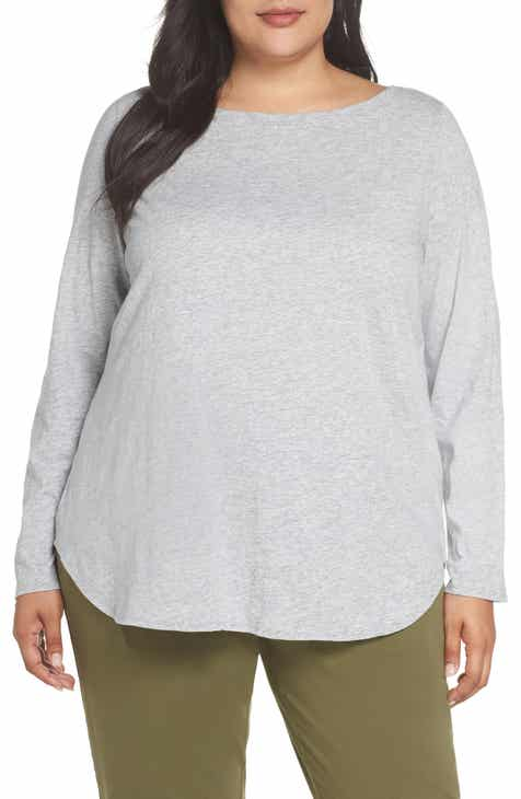 f2c42eed7 Eileen Fisher Long Sleeve Organic Cotton Tee (Plus Size)