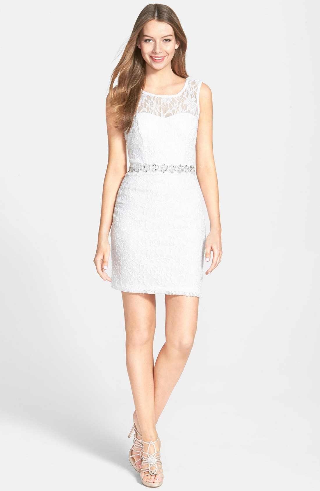 Alternate Image 1 Selected - Way-In Glitter Lace Body-Con Dress (Juniors)