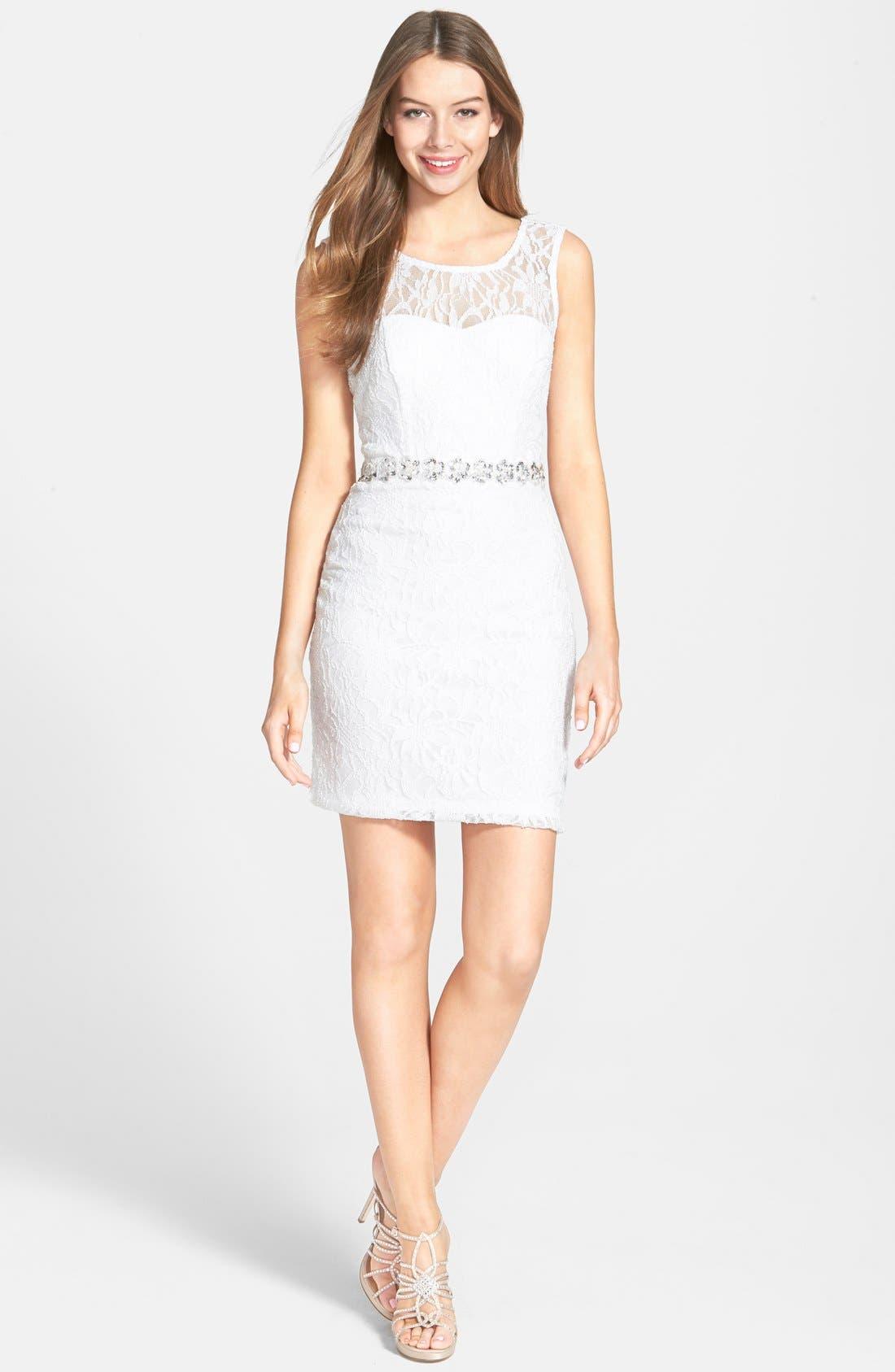 Main Image - Way-In Glitter Lace Body-Con Dress (Juniors)
