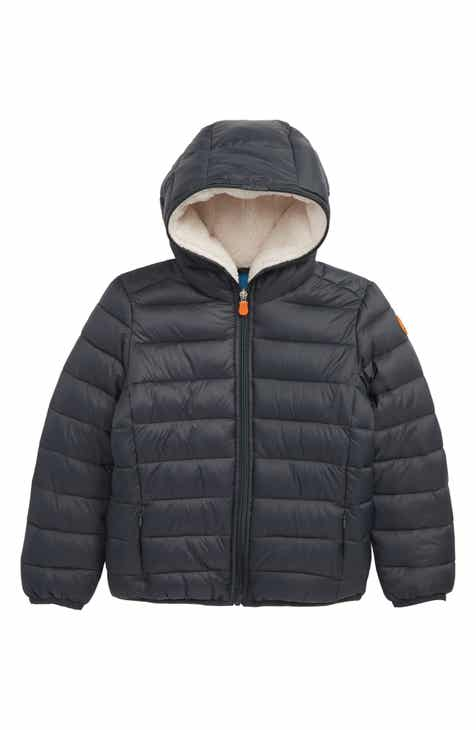 Save the Duck Water Resistant Hooded Jacket with Faux Shearling Lining (Little Boys)