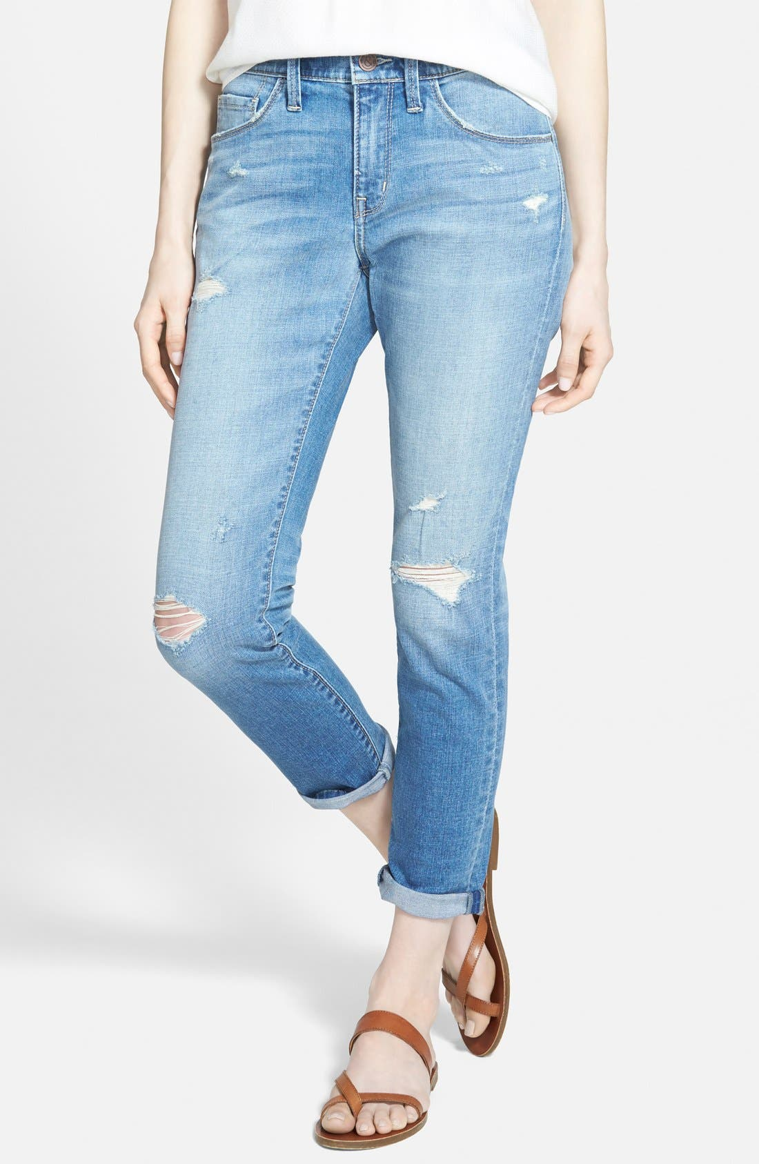 Alternate Image 1 Selected - Treasure&Bond Crop Boyfriend Skinny Jeans (Light Destroy)