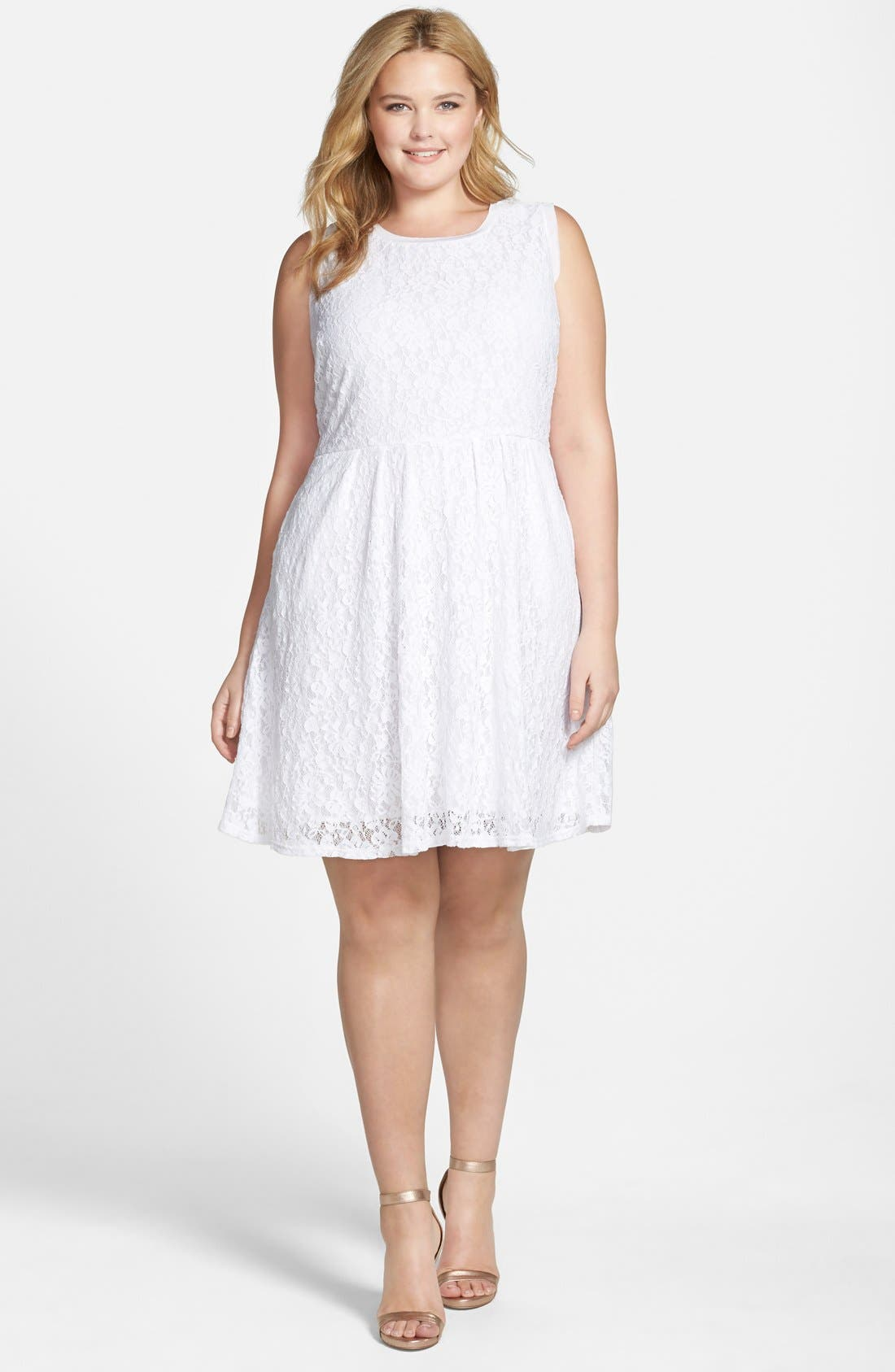 Alternate Image 4  - Two by Vince Camuto Floral Lace Babydoll Dress (Plus Size)