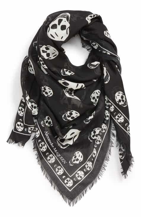 9c72c213f42e3 Alexander McQueen Skull Print Modal   Silk Scarf