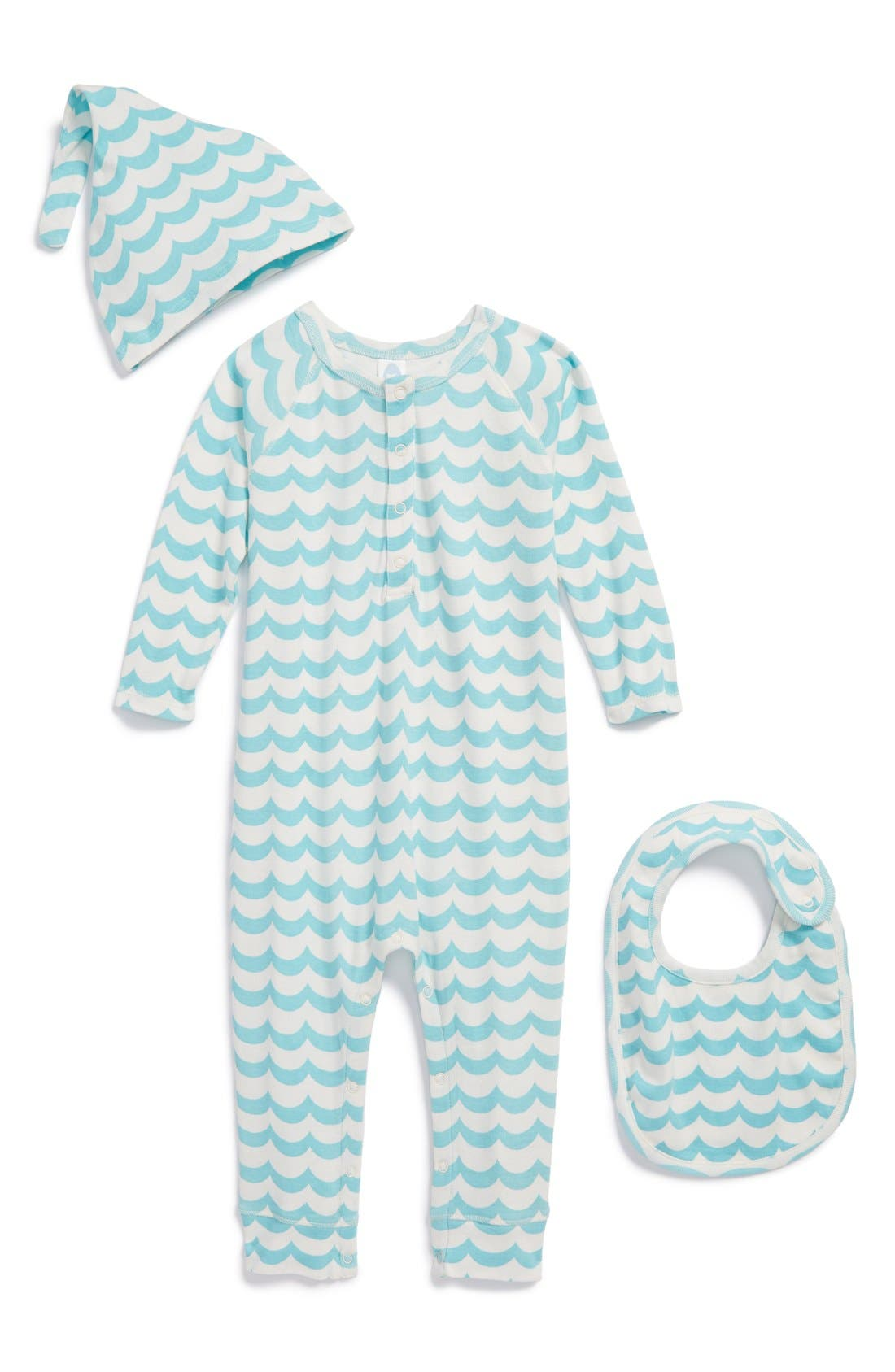 Main Image - Stem Baby Organic Cotton Romper, Cap & Bib (Baby Boys)