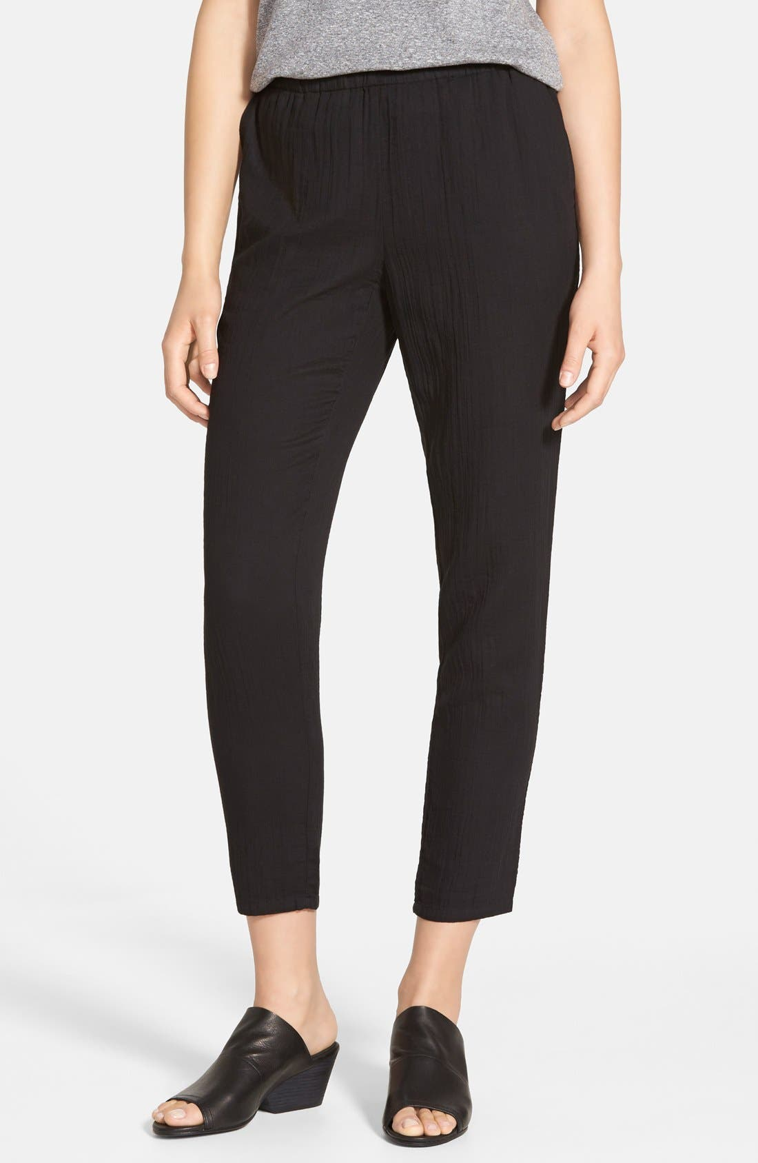 Alternate Image 1 Selected - Eileen Fisher Tapered Organic Cotton Ankle Pants (Regular & Petite)
