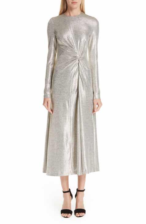 Galvan Twist Detail Metallic Dress by GALVAN