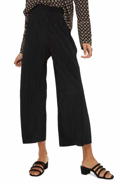 Topshop Track Band Plissé Wide Leg Trousers by TOPSHOP