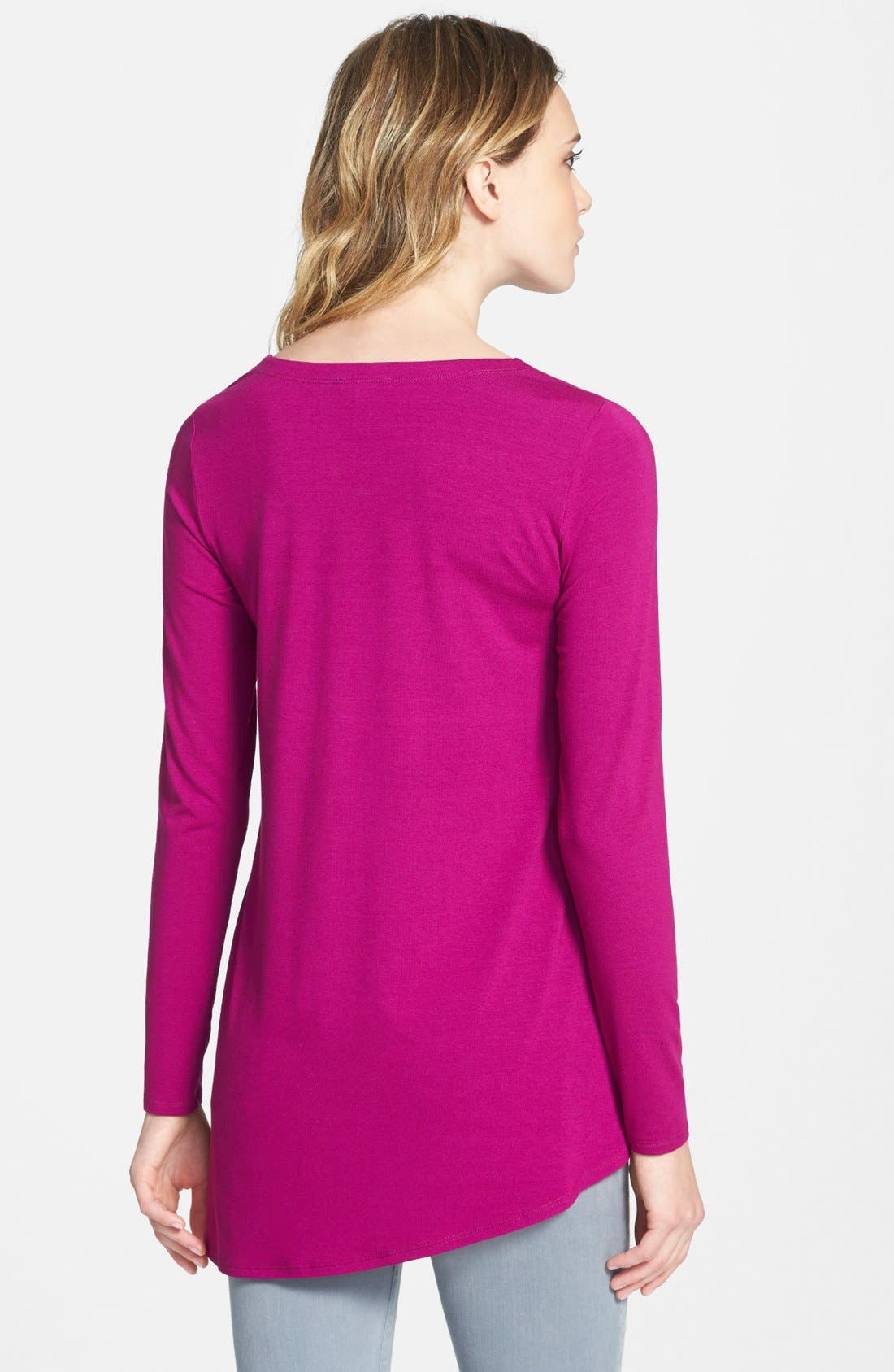 Alternate Image 2  - Eileen Fisher V-Neck Stretch Knit Top (Regular & Petite)