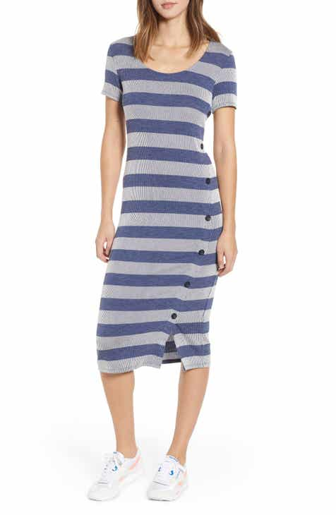 0a7273726c5 Side Button Stripe Midi Dress (Regular   Plus Size)