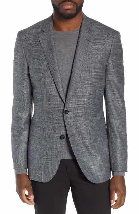 7529d13818f BOSS T-Heel Slim Fit Plaid Wool Blend Sport Coat