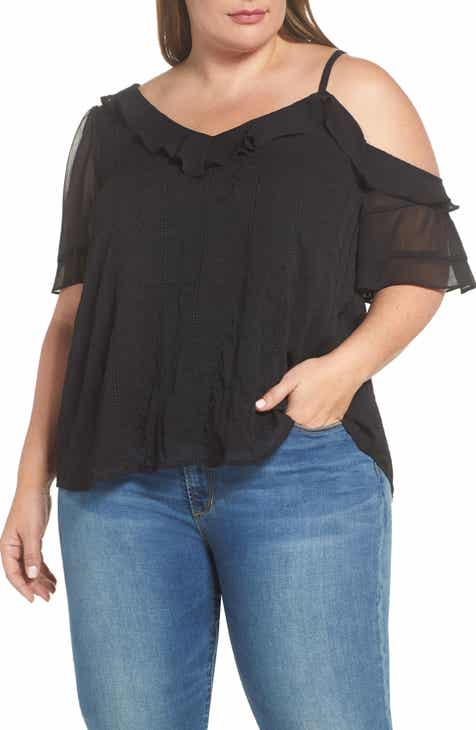 ee8afc4282b49b STATE Yoryu Single Cold Shoulder Blouse (Plus Size)