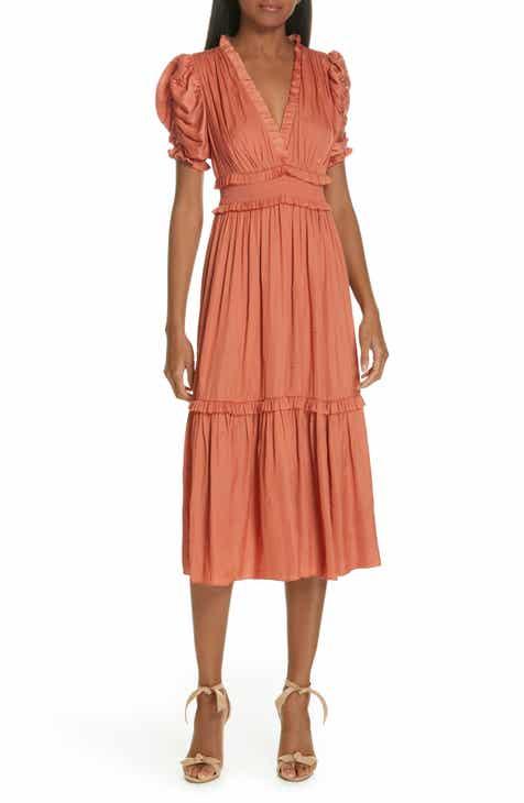 6b08dd6ae19c Ulla Johnson Maya Embroidered Satin Midi Dress