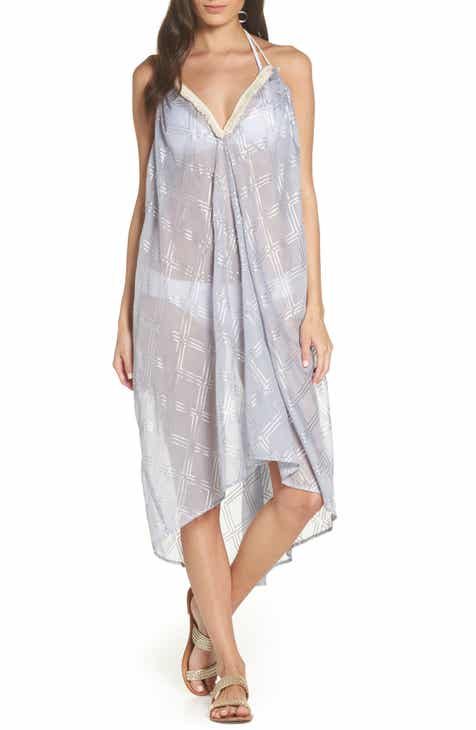 Surf Gypsy Metallic Print Cover-Up Dress