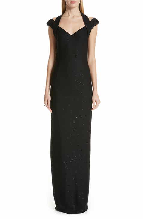 0fe49d1506c St. John Collection Links Sequin Knit Halter Gown
