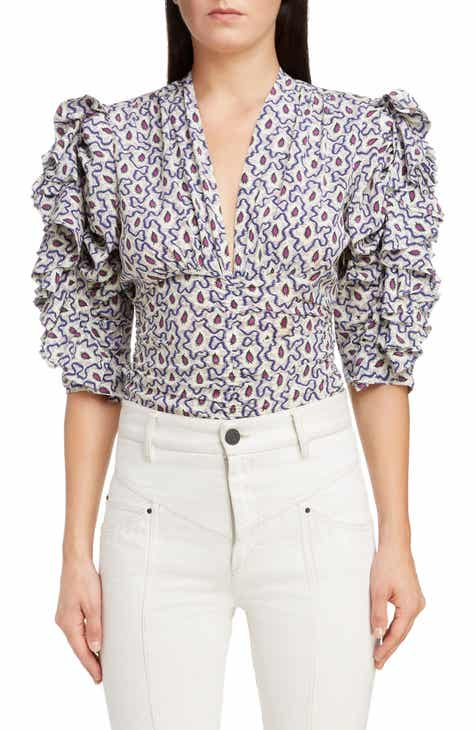 c8c63e9fa58d99 Isabel Marant Print Stretch Silk Top