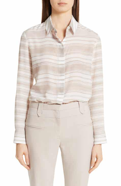 Altuzarra Sheer Stripe Silk Blouse