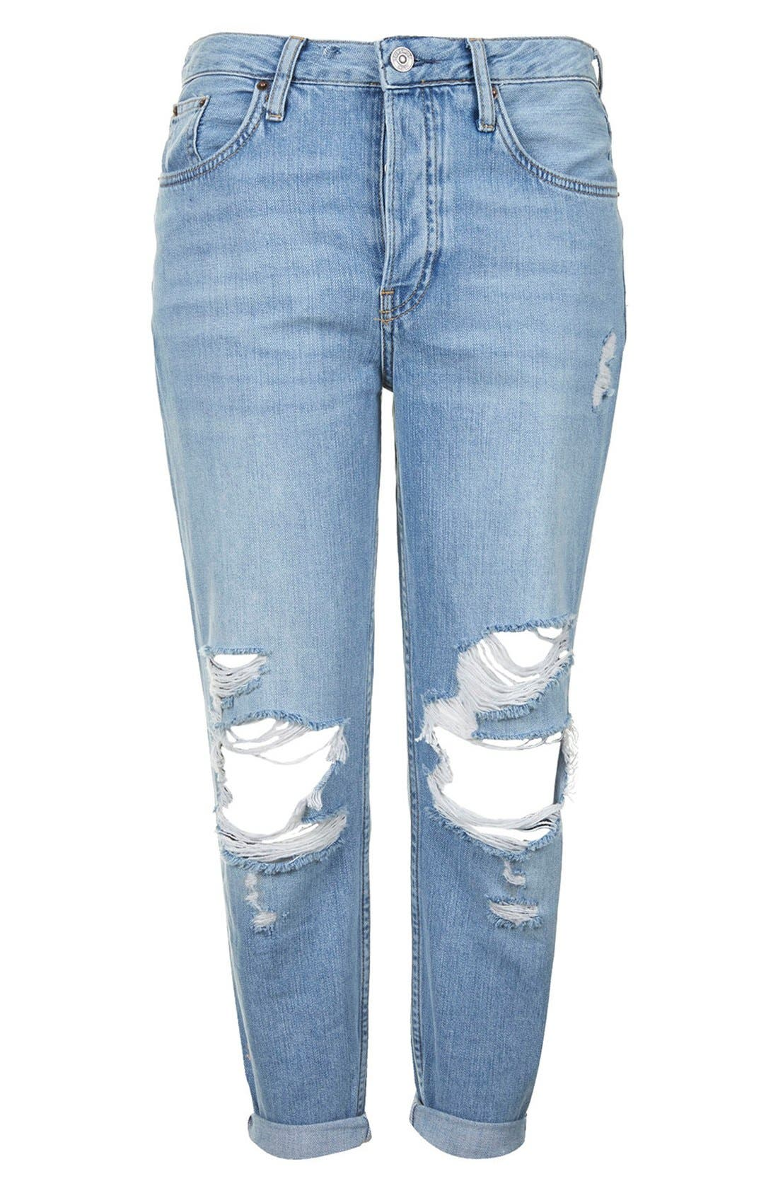 Alternate Image 4  - Topshop Moto 'Hayden' Ripped Boyfriend Jeans (Light Denim) (Regular & Petite)