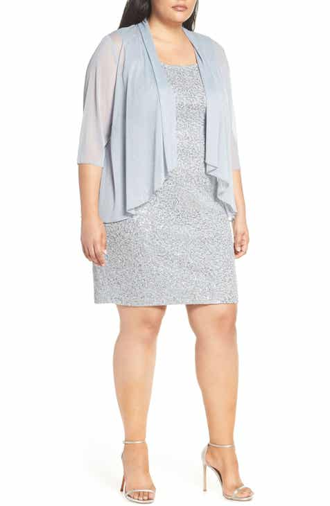 ee843ef0ebc Alex Evenings Sequin Sheath Dress   Chiffon Jacket (Plus Size)