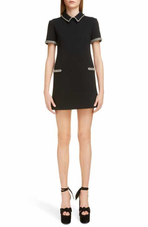 1b0c693a7f Saint Laurent Crystal Trim Wool Shift Dress