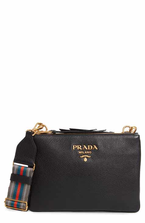 e5dbe09dc9df Prada Vitello Daino Double Compartment Leather Crossbody Bag