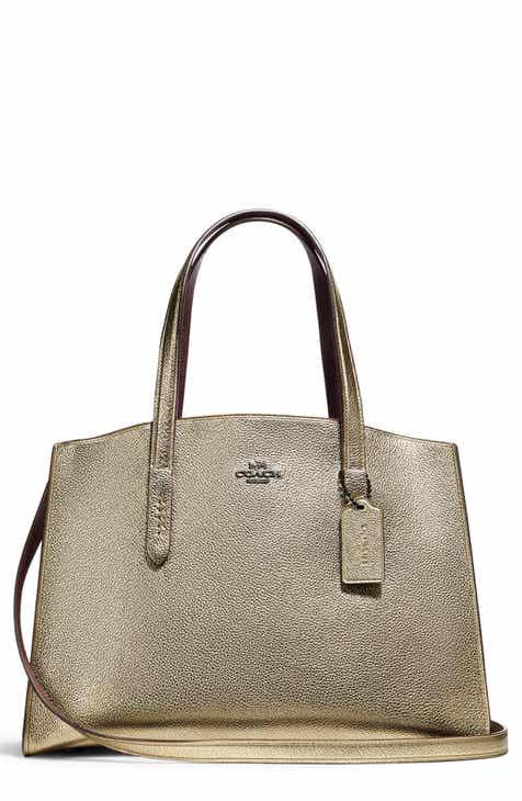COACH Charlie Metallic Leather Tote f2b628f8c3