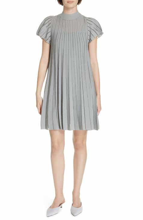 1f2ca4c0517 RED Valentino Metallic Sheer Stripe Minidress