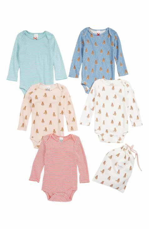 d2f89862ad0 Mini Boden 5-Pack Print Bodysuits (Baby Girls)