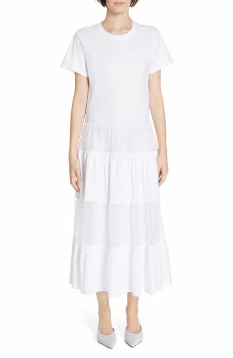 Red Valentino Point D Esprit Panel Maxi Dress