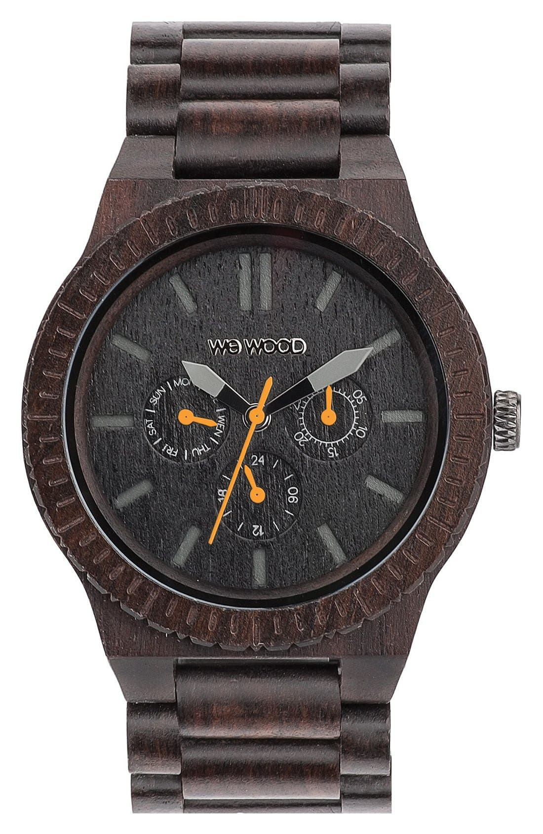 WeWOOD 'Kappa' Multifunction Wood Bracelet Watch, 46mm