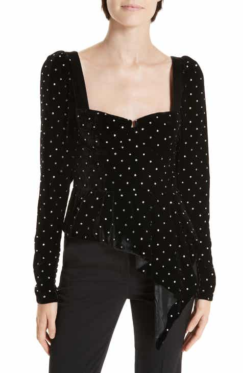 86069be429685 Self-Portrait Asymmetrical Velvet Diamante Top