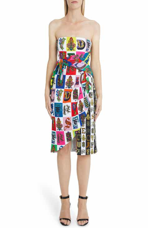 Versace First Line Alphabet Print Strapless Sheath Dress by VERSACE FIRST LINE