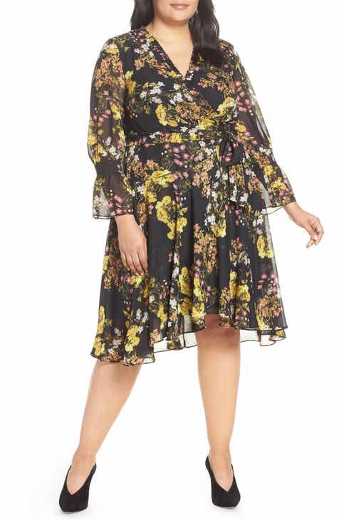 5053788976e Tahari Chiffon Tie Waist Dress (Plus Size)