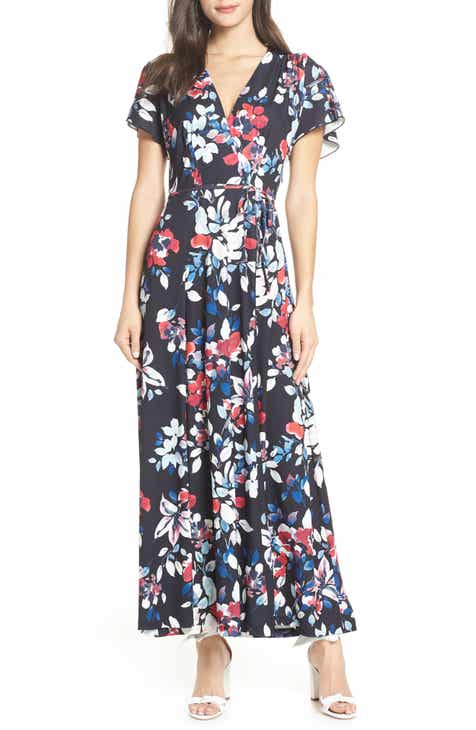 dc472633d58 French Connection Linosa Floral Print Faux Wrap Maxi Dress