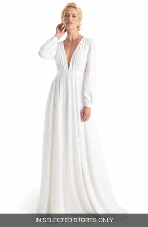 Joanna August Floyd V Neck Long Sleeve Gown