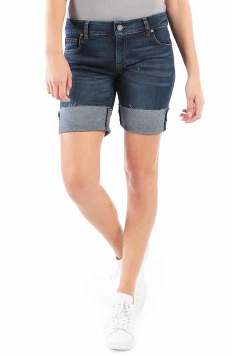 Levi's® 501® Ripped High Waist Cutoff Denim Shorts (Mid View) by LEVIS